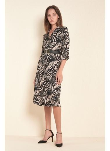 Z Giyim Boydan Düğmeli Diz Altı Elbise Siyah